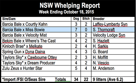 NSW whelping report 4/3/2016
